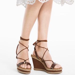 White House Black Market Lace Up Wedge Sandals NWT